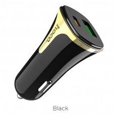 Įkroviklis automobilinis Hoco Z31A su USB jungtimi Quick Charge 3.0 (3.4A) + Type-C PD juodas