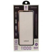 Išorinė baterija Power Bank Leslie LP006 11000mAh balta