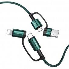 Joyroom 4in1 Daugiafunkcinis Greito Įkrovimo Kabelis USB Type C / USB - USB Type C / Lithtning 3 A 60 W 1,2 m Žalias (S-1230G3)