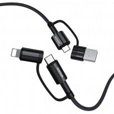 Joyroom 4in1 Daugiafunkcinis Greito Įkrovimo Kabelis USB Type C / USB - USB Type C / Lithtning 3 A 60 W 1,8 m Juodas (S-1830G3)