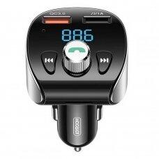 Joyroom FM Siųstuvas Bluetooth 5.0 Automobilinis Įkroviklis MP3 2x USB TF micro SD 18 W 3 A Greitas Įkrovimas 3.0 Juodas (JR-CL02)