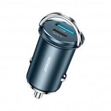 Joyroom mini Dviejų Jungčių USB Type C / USB 20 W 5 A Greito Įkrovimo Išmanus Automobilinis Įkroviklis 3.0 AFC SCP Mėlynas (C-A45)