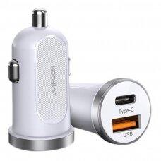 Joyroom mini Dviejų Prievadų USB Type C / USB 30 W 5 A Išmanus Greito Įkrovimo Automobilinis Įkroviklis 3.0 Baltas (C-A08)