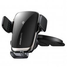 Joyroom Qi wireless 15 W automobilinis telefono laikiklis su bevielio krovimo funkciją tvirtinamas į CD diskų skaitytuvą juodas (JR-ZS248)