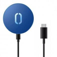 Joyroom Belaidis Qi Įkroviklis 15 W skirtas iPhone (suderinama su MagSafe) + USB Type C Kabelis Mėlynas (JR-A28)