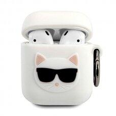 Originalus Karl Lagerfeld dėklas KLACA2SILCHWH AirPods baltas Silicone Choupette