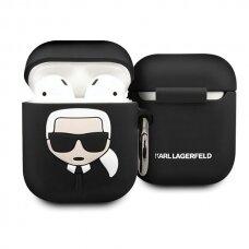 Originalus Karl Lagerfeld ausinukų dėklas Klaccsilkhbk Airpods Cover juodas Silicone Ikonik