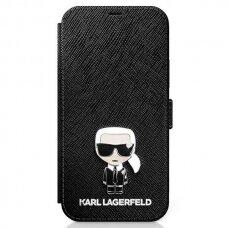 Originalus atverčiamas Karl Lagerfeld dėklas Klflbkp12Mikmsbk Iphone 12/12 Pro juodas Saffiano Ikonik Metal
