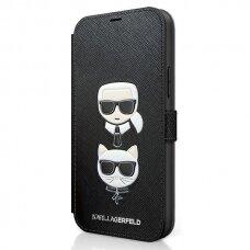 "Originalus Karl Lagerfeld Dėklas Klflbkp12Ssakickcbk Iphone 12 Mini 5,4"" Juodas Saffiano Karl & Choupette"