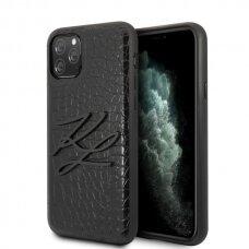 Karl Lagerfeld  KLHCN65CRKBK originalus dėklas iPhone 11 Pro Max hardcase juodas Croco USC056