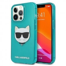 """Originalus Karl Lagerfeld dėklas KLHCP13LCHTRB iPhone 13 Pro / 13 6,1"""" Mėlynas Glitter Choupette Fluo"""