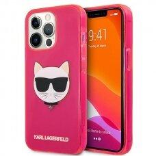 "Originalus Karl Lagerfeld dėklas KLHCP13LCHTRP iPhone 13 Pro / 13 6,1"" Rožinis Glitter Choupette Fluo"