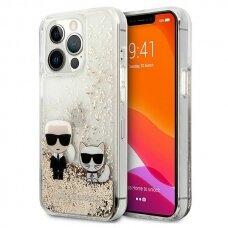 "Originalus Karl Lagerfeld dėklas KLHCP13LGKCD iPhone 13 Pro / 13 6,1"" Auksinis Liquid Glitter Karl&Choupette"