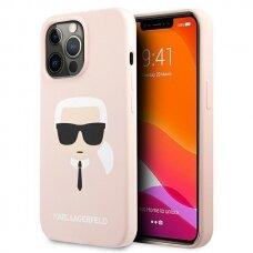 "Originalus Karl Lagerfeld dėklas KLHCP13LSLKHLP iPhone 13 Pro / 13 6,1"" Rožinis Silicone Karl`s Head"