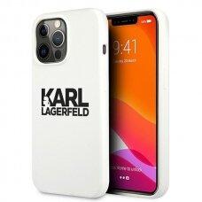 """Originalus Karl Lagerfeld dėklas KLHCP13LSLKLWH iPhone 13 Pro / 13 6,1"""" Silicone Stack Logo Baltas"""