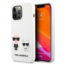 "Originalus Karl Lagerfeld dėklas KLHCP13LSSKCW iPhone 13 Pro / 13 6,1"" Baltas Silicone Karl & Choupette"