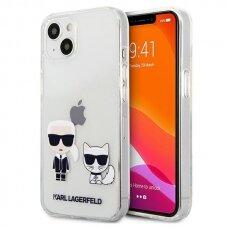 """Originalus Karl Lagerfeld Karl & Choupette dėklas iPhone 13 6,1"""" Permatomas"""
