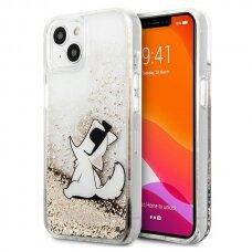 "Originalus Karl Lagerfeld dėklas KLHCP13MGCFD iPhone 13 6,1"" Auksinis Liquid Glitter Choupette Fun"