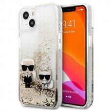 "Originalus Karl Lagerfeld dėklas KLHCP13MGKCD iPhone 13 6,1"" Auksinis Liquid Glitter Karl&Choupette"