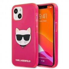 "Originalus Karl Lagerfeld dėklas KLHCP13SCHTRP iPhone 13 mini 5,4"" Rožinis Glitter Choupette Fluo"