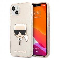 """Originalus Karl Lagerfeld dėklas KLHCP13SKHTUGLGO iPhone 13 mini 5,4"""" Auksinis Glitter Karl`s Head"""