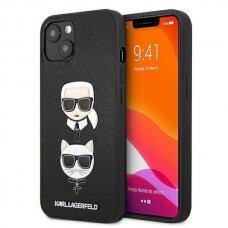 "Oriignalus Karl Lagerfeld dėklas KLHCP13SSAKICKCBK iPhone 13 mini 5,4"" Juodas Saffiano Karl & Choupette"