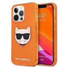 "Originalus Karl Lagerfeld dėklas KLHCP13XCHTRO iPhone 13 Pro Max 6,7"" Oranžinis Glitter Choupette Fluo"