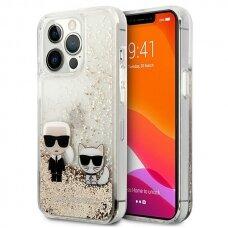 "Originalus Karl Lagerfeld dėklas KLHCP13XGKCD iPhone 13 Pro Max 6,7"" Auksinis Liquid Glitter Karl&Choupette"