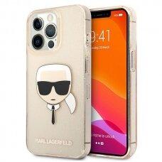 "Originalus Karl Lagerfeld dėklas KLHCP13XKHTUGLGO iPhone 13 Pro Max 6,7"" Auksinis Glitter Karl`s Head"