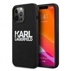 "Originalus Karl Lagerfeld dėklas KLHCP13XSLKLRBK iPhone 13 Pro Max 6,7"" Silicone Stack Logo Juodas"