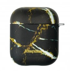 Kingxbar Airpods Case Silicone Protective Box For Airpods Headphones Black Marble
