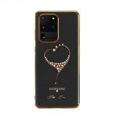 Kingxbar Wish Serijos Dėklas Dekoruotas Tikrais Swarovski Kristalais Samsung Galaxy S20 Ultra Auksinis