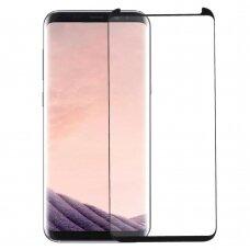 LCD apsauginis stikliukas 3D Perfectionists pritaikytas dėklui Samsung G955 S8 Plus su klijavimo šablonu lenktas juodas UCS009
