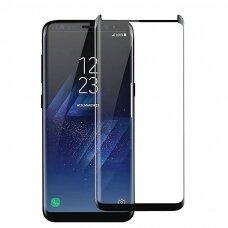 LCD apsauginis stikliukas 3D Perfectionists pritaikytas dėklui Samsung G965 S9 Plus su klijavimo šablonu lenktas juodas UCS007