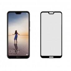 LCD apsauginis stikliukas 5D Cold Carving Huawei P20 lenktas juodas UCS076