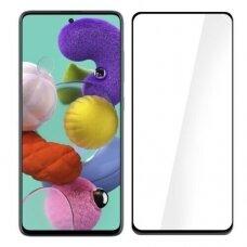 Lcd Apsauginis Stikliukas 5D Full Glue Samsung A715 A71 Lenktas Juodas