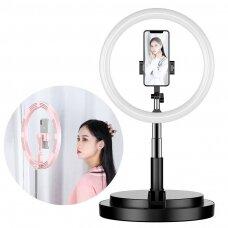 LED Asmenukių Žiedas su šviesa ir blykste 52 - 170 cm trikojis su telefono laikikliu Juodas