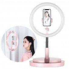 LED Asmenukių Žiedas su šviesa ir blykste 52 - 170 cm trikojis su telefono laikikliu Rožinis