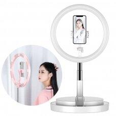 LED Asmenukių Žiedas su šviesa ir blykste 52 - 170 cm trikojis su telefono laikikliu Baltas