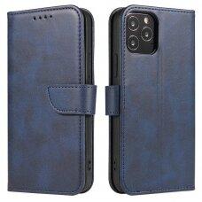 Atverčiamas Dėklas Magnet Case elegant bookcase Samsung Galaxy A12 Mėlynas