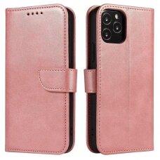 Atverčiamas Dėklas Magnet Case elegant bookcase Samsung Galaxy A42 5G Rožinis
