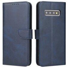 Atverčiamas Dėklas Magnet Case elegant bookcase Samsung Galaxy S10+ (S10 Plus) Mėlynas