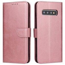 Atverčiamas Dėklas Magnet Case elegant bookcase Samsung Galaxy S10+ (S10 Plus) Rožinis