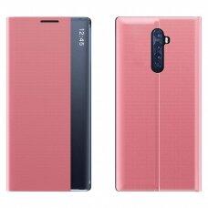 New Sleep Case Atverčiamas Dėklas, Turintis Atramos Funkciją skirta Xiaomi Redmi Note 8 Pro Rožinis