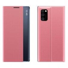 New Sleep Case Atverčiamas Dėklas, Turintis Atramos Funkciją skirta Xiaomi Poco M3 Rožinis