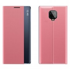 New Sleep Case Atverčiamas Dėklas Xiaomi Redmi Note 9 Pro / Redmi Note 9S Rožinis