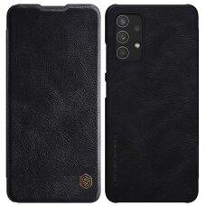 Atverčiamas odinis dėklas Nillkin Qin Samsung Galaxy A32 4G Juodas