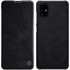 """Atverčiamas dėklas """"Nillkin Qin"""" odinis Samsung Galaxy A51 juodas (lop20)"""