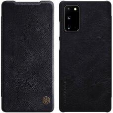 Natūralios Odos Atverčiamas Dėklas Nillkin Qin Samsung Galaxy Note 20 Juodas