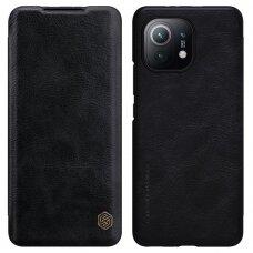 Atverčiamas odinis dėklas Nillkin Qin Xiaomi Mi 11 Lite 5G Juodas